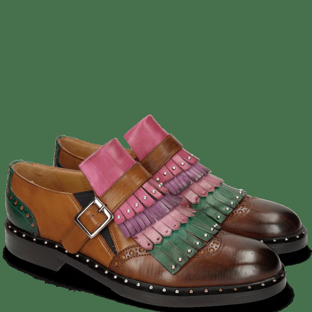 Monk Schuhe Sally 76 Mid Brown Tan Pine Lilac Purple Flame Dark Pink