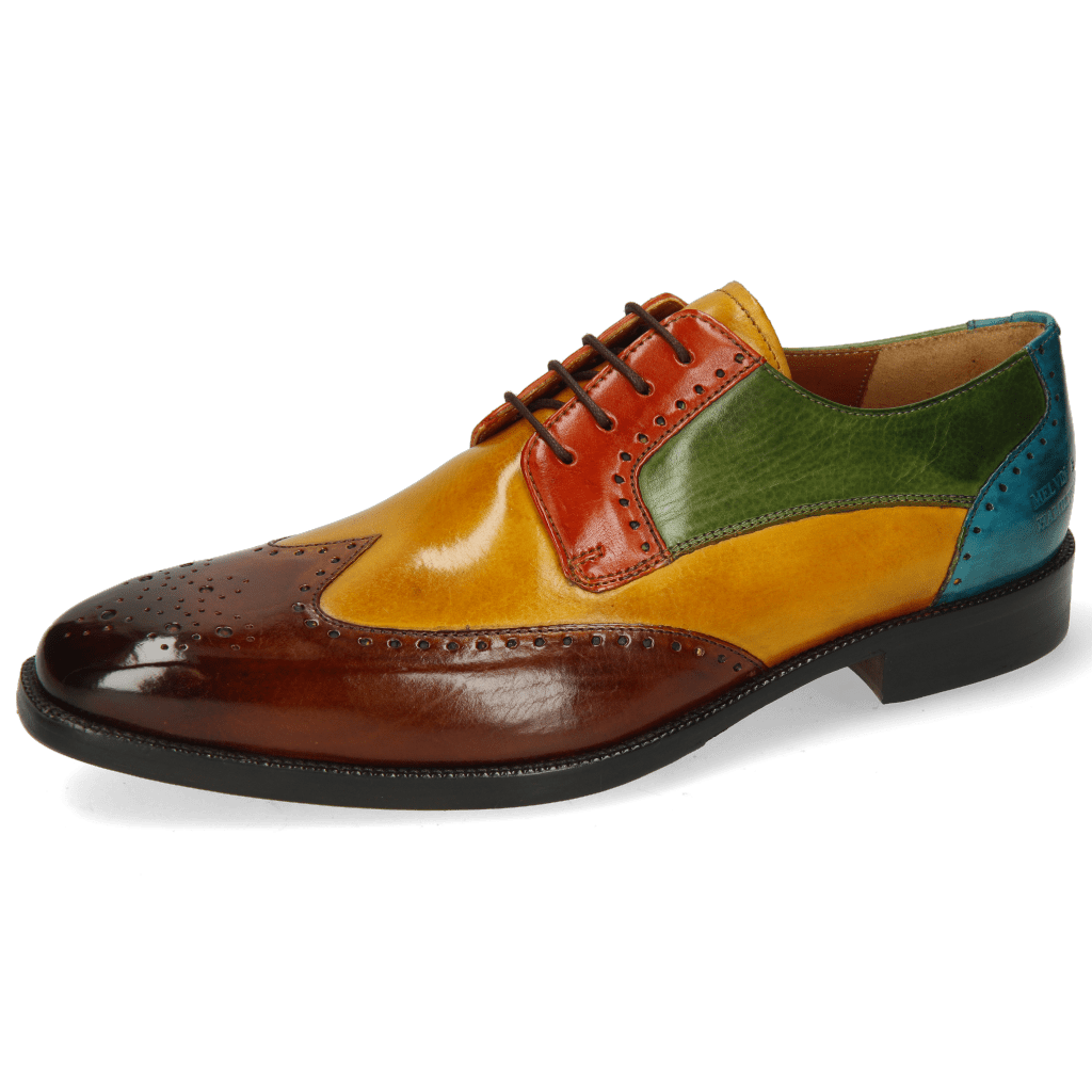 Derby Schuhe Jeff 14 Wood Yellow Winter Orange Ultra Green Turquoise