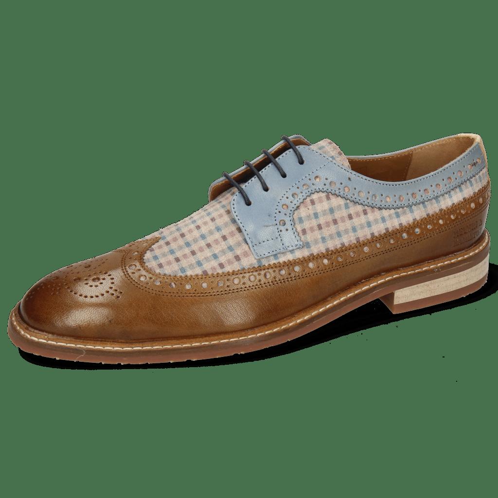 Derby Schuhe Logan 6 Venice Nougat Suede Mady Beige Vegas Moroccan Blue
