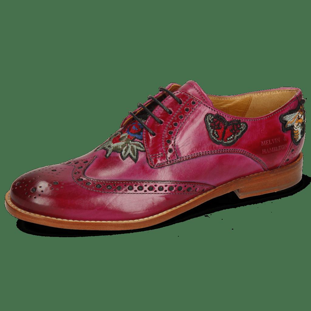 Derby Schuhe Amelie 46 Dark Pink Embroidery