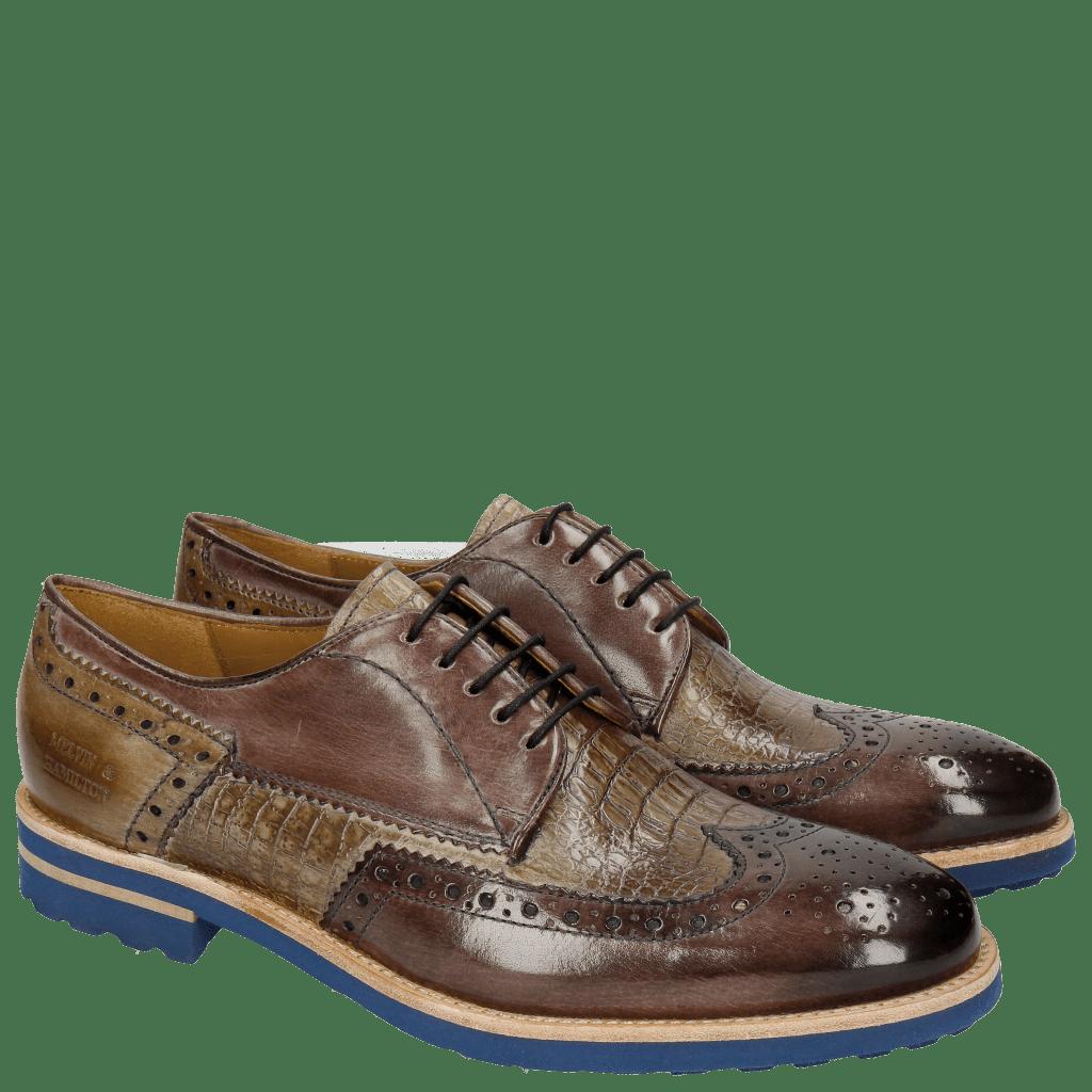 Derby Schuhe Johnny 1 Classic Stone Smog Baby Croco Smog Crip Blue