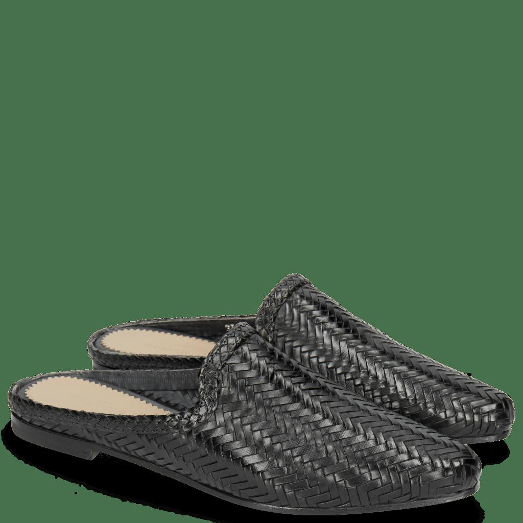 Pantoletten Joolie 17 Woven Haring Bone Black