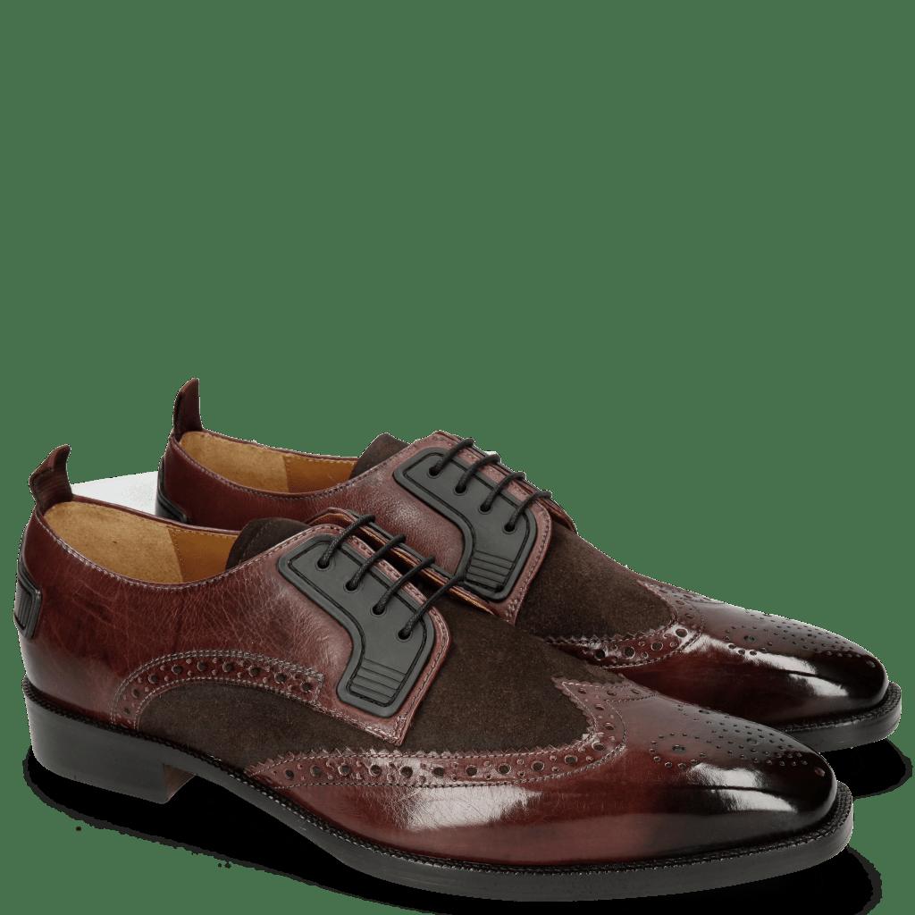 Derby Schuhe Jeff 32 Mokka Suede Pattini Brown
