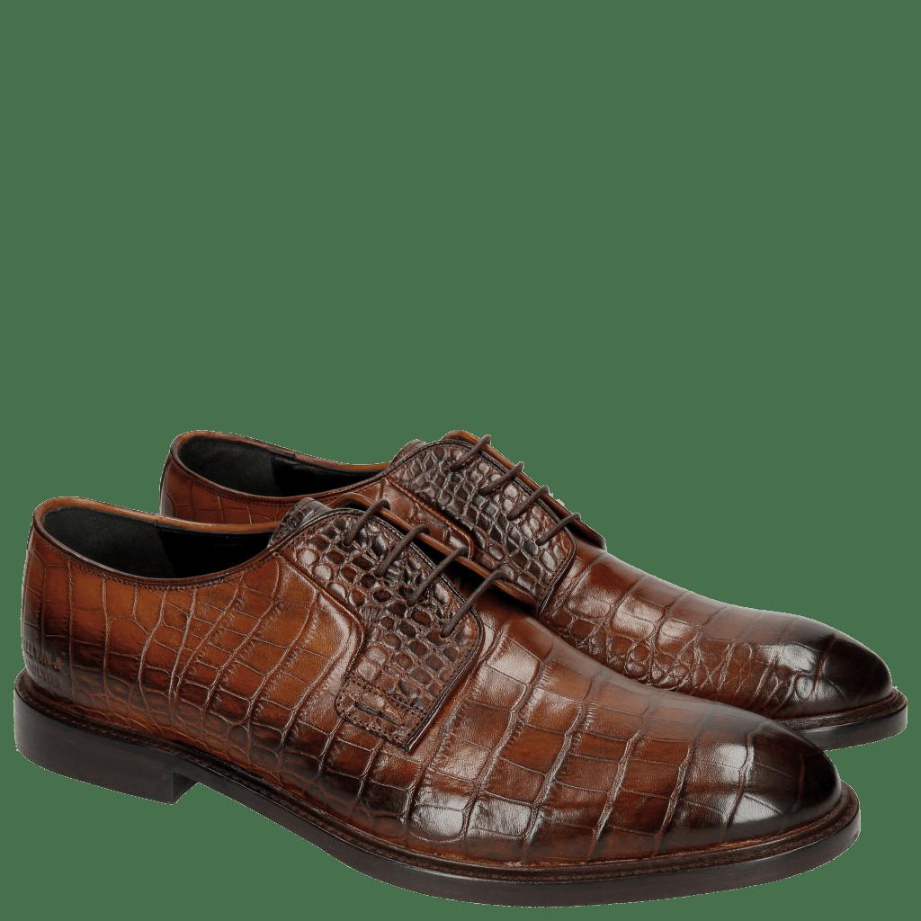 Derby Schuhe Matthew 1 Croco Wood HRS
