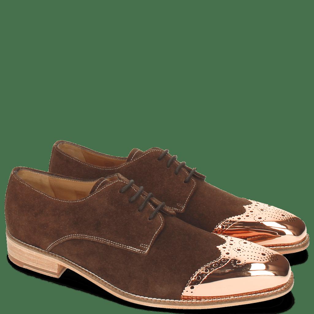 Derby Schuhe Lance 1 MTC Suede Pattini Dark Brown LS Raw