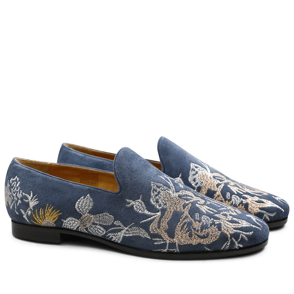 Loafers Scarlett 6 Suede Navy Navy Embrodery Mixed HRS