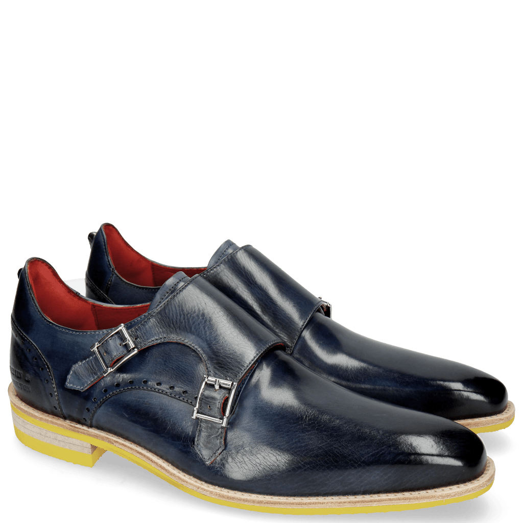 Monk Schuhe Dave 3 Moroccan Blue Washed