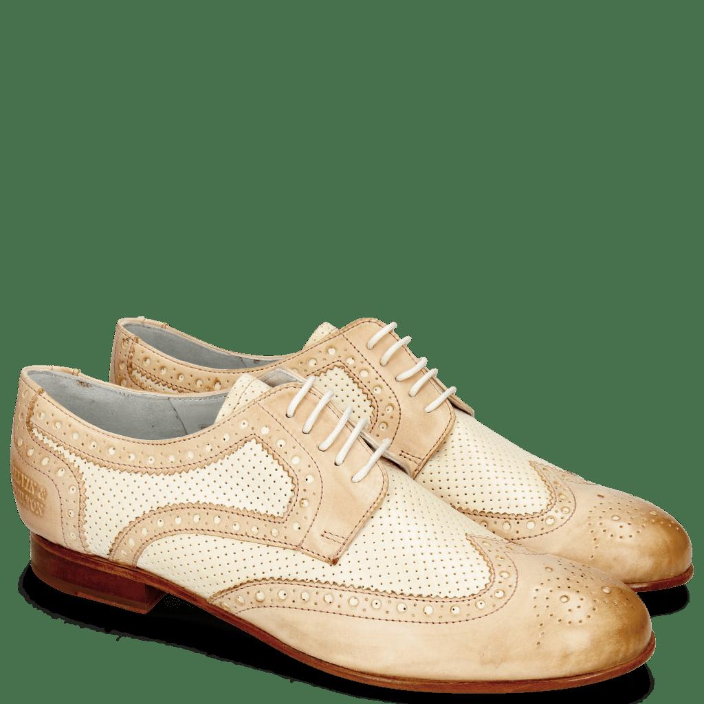 Derby Schuhe Sally 66 Vegas Rose Perfo White