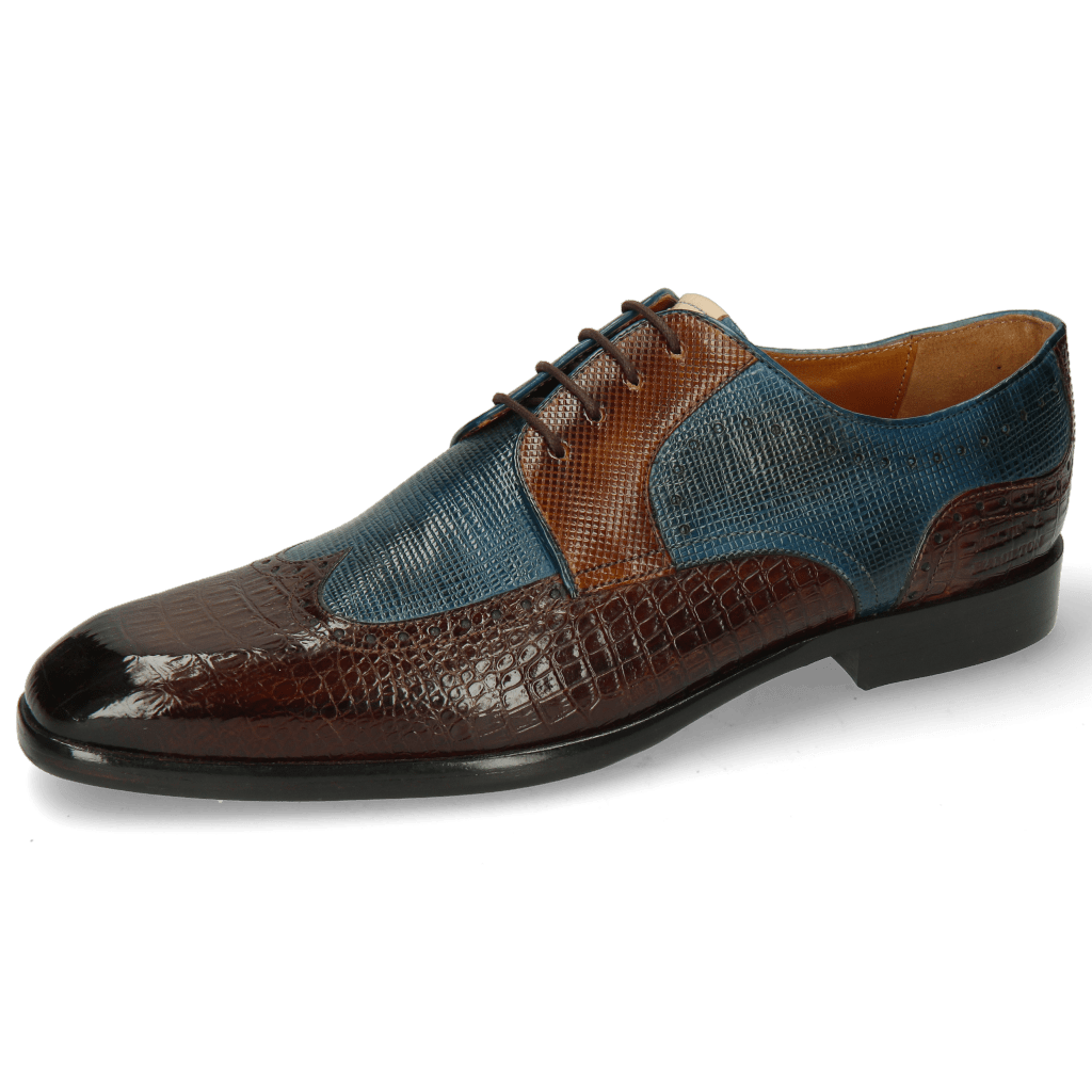 Derby Schuhe Elyas 2 Baby Croco Mid Brown Haina Blue