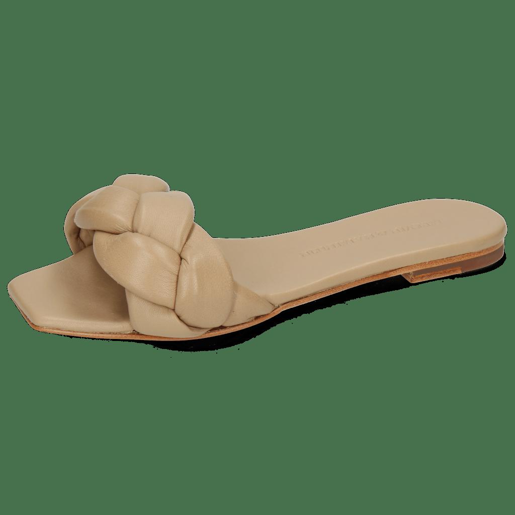 Pantoletten Sandrine 3 Nappa Beige Footbed