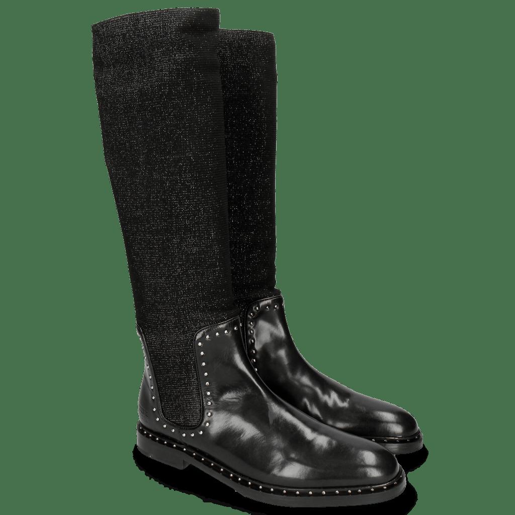 Stiefel Susan 52 Black Stafy Glitter Black Rivets