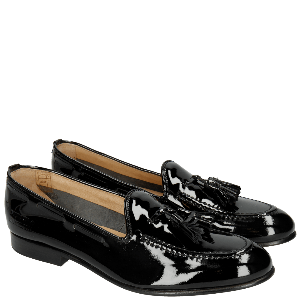 Loafers Sally 11 Patent Black Tassel Black