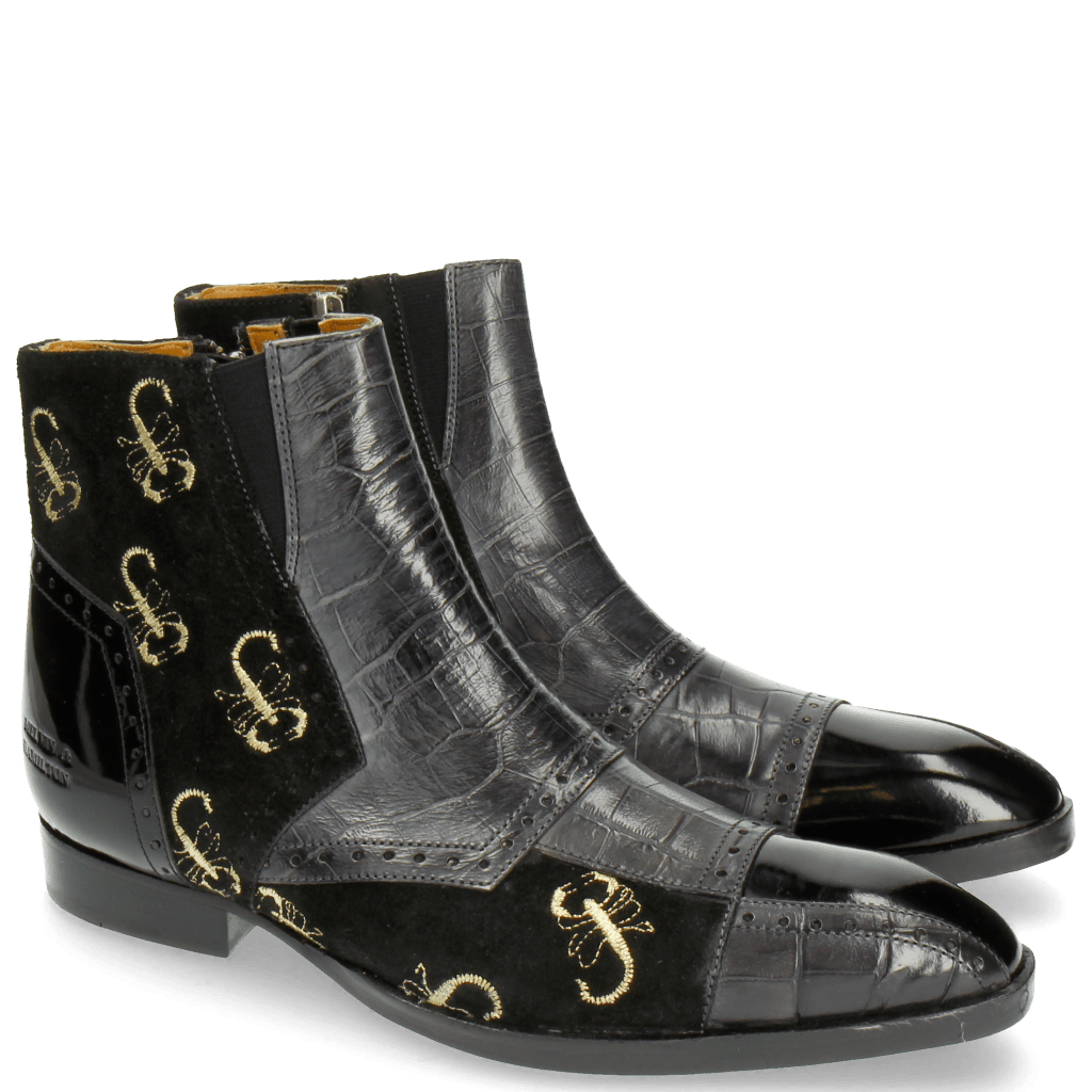 Stiefeletten Ricky 11 Big Croco Patent Suede London Fog Black Embrodery Gold Scorpion