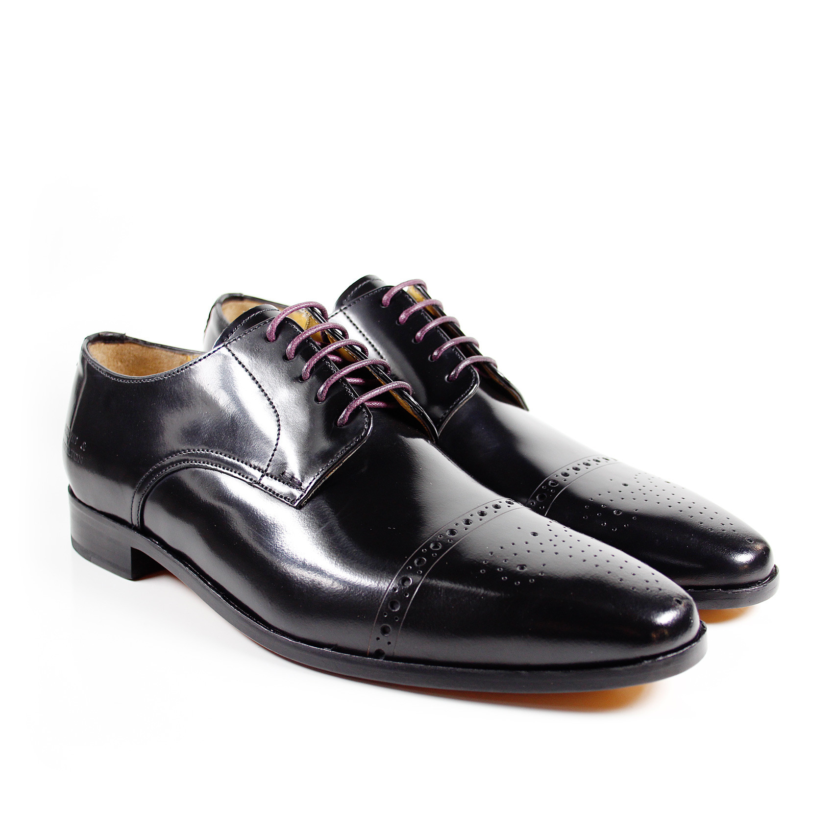 Derby Schuhe Edward 1 Brush Black LS