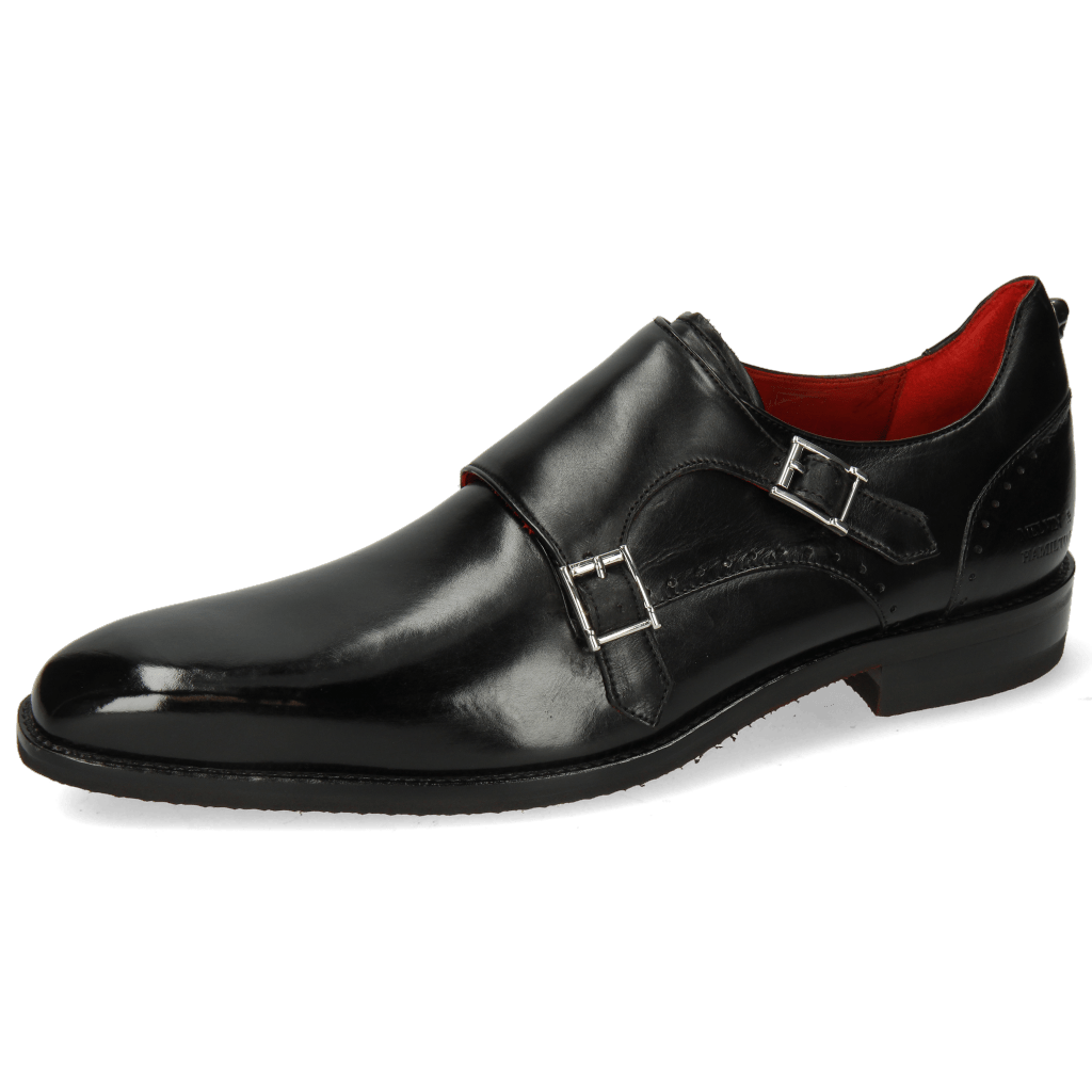 Monk Schuhe Dave 3 Black Lining Red