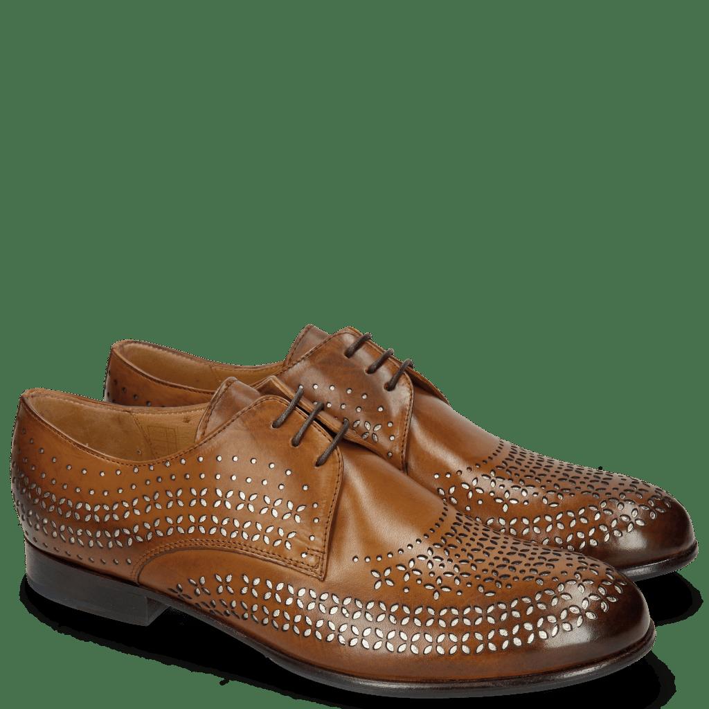 Derby Schuhe Sally 82 Tan Lasercut Feather