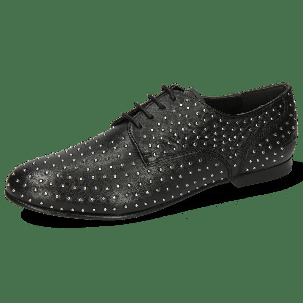 Derby Schuhe Sonia 10 Nappa Black Rivets