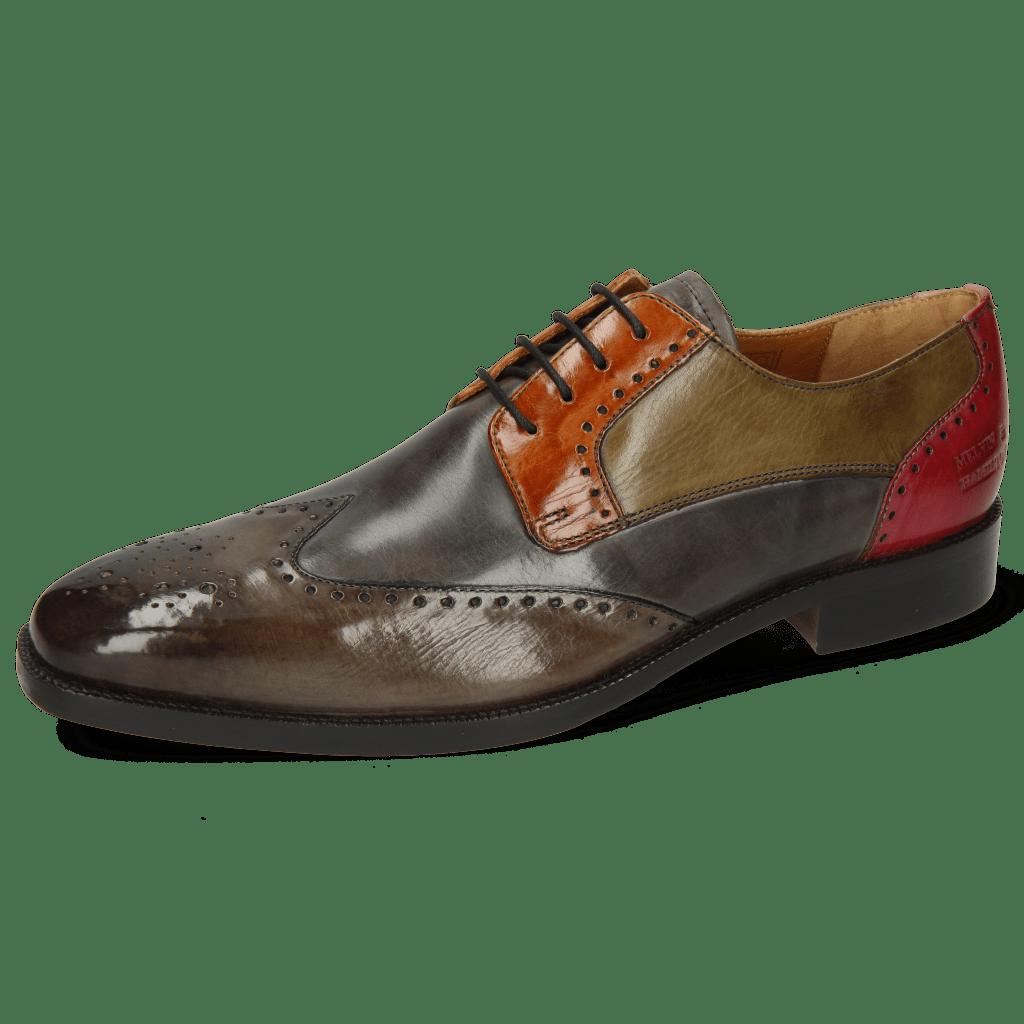 Derby Schuhe Jeff 14 Dark Brown Grigio Winter Orange Light Grey Pink