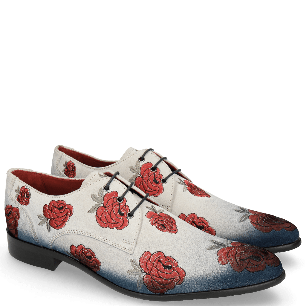 Derby Schuhe Toni 1 Suede Pattini Jute Shade Navy Washed Embroidery Roses