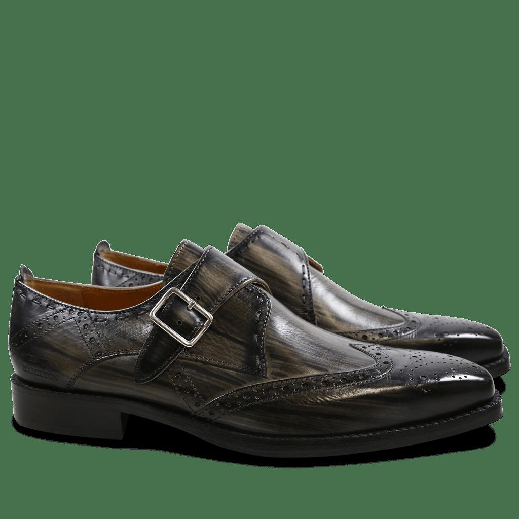 Monk Schuhe Nicolas 2 Grey Shade & Lines Black HRS