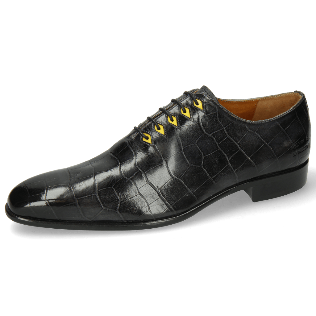 Oxford Schuhe Lance 28 Big Croco London Fog Eyelet Fluo Yellow