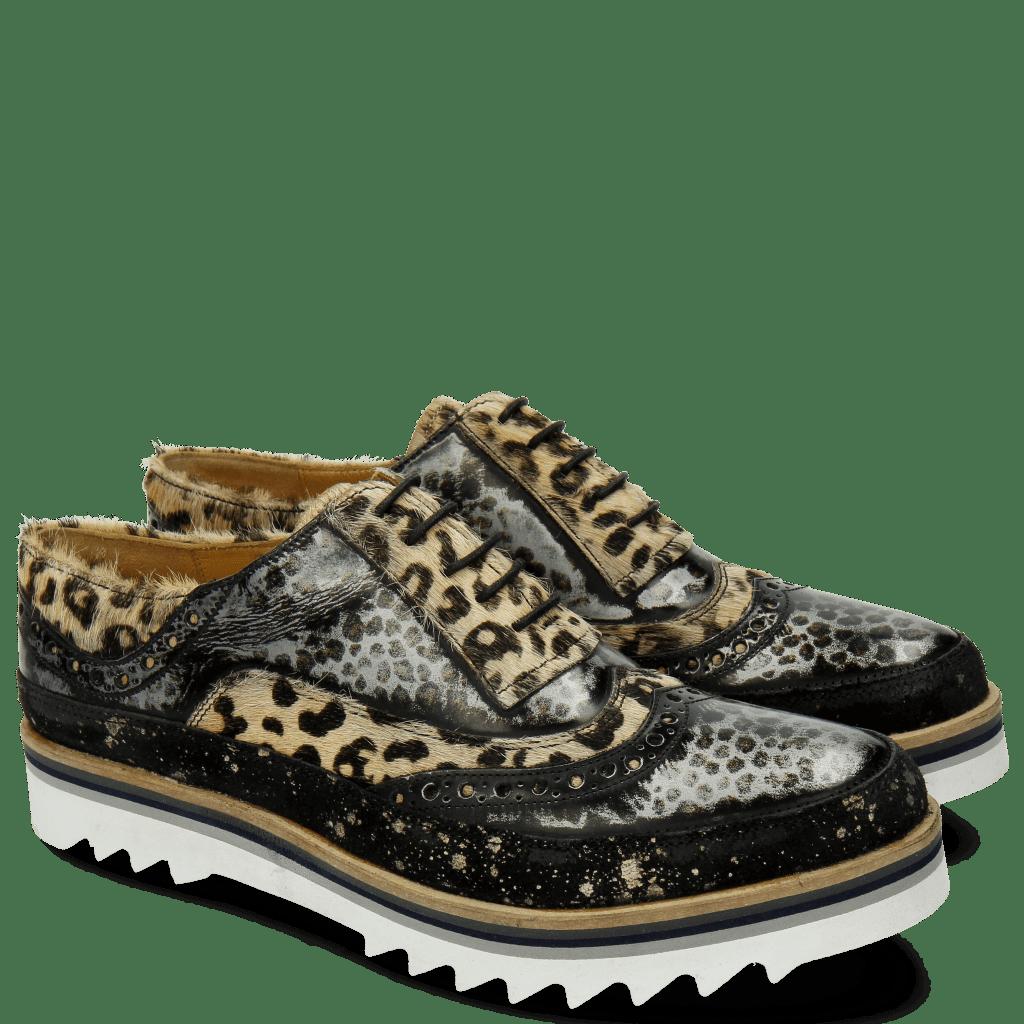 Oxford Schuhe Lena 1 Suede Brush Hair On Leo Black Silver Leo Beige Dots