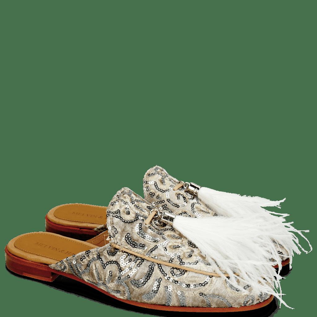 Pantoletten Scarlett 2 Textile Zardosi Beige Feather