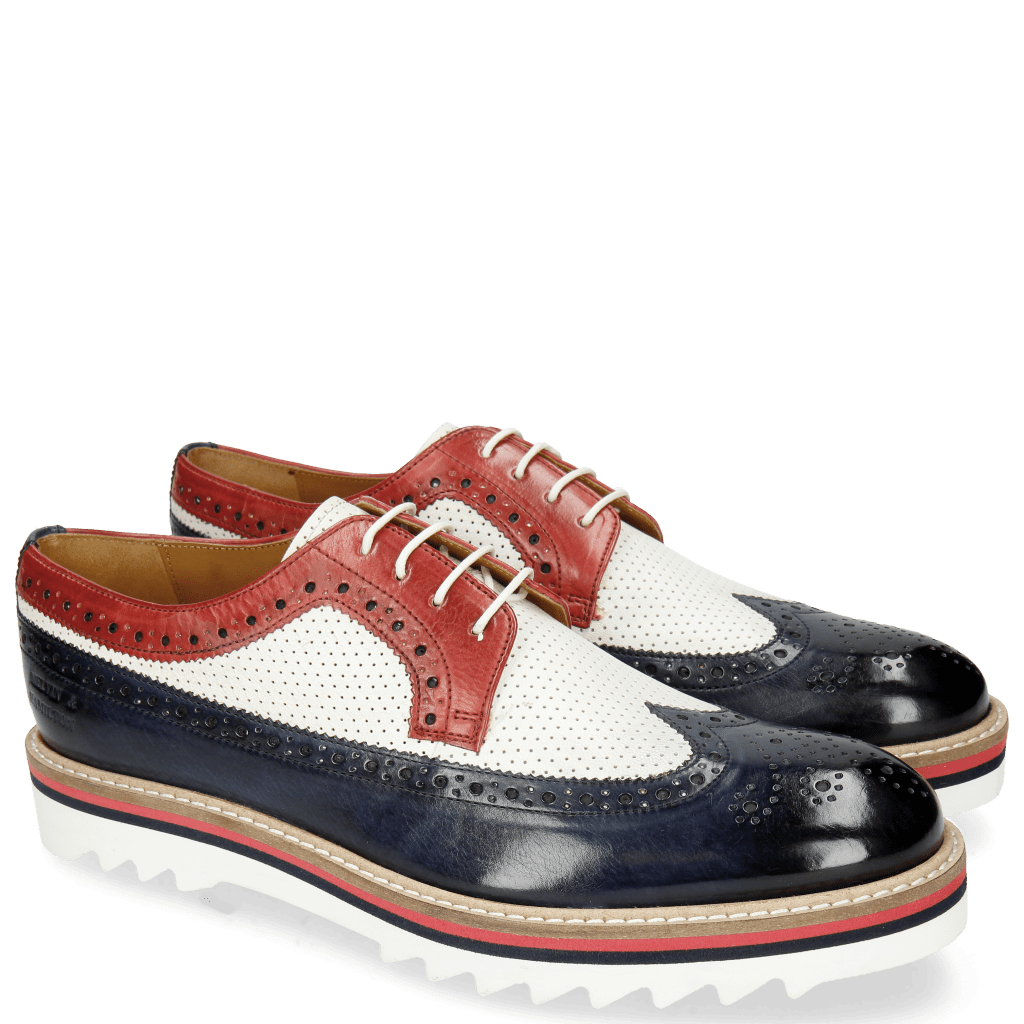 Derby Schuhe Trevor 10 Navy Venice Perfo White Red
