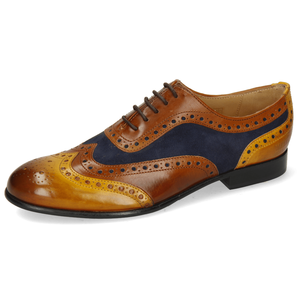Oxford Schuhe Sally 97 Indian Yellow Wood Sheep Suede Reflex Blue Wood