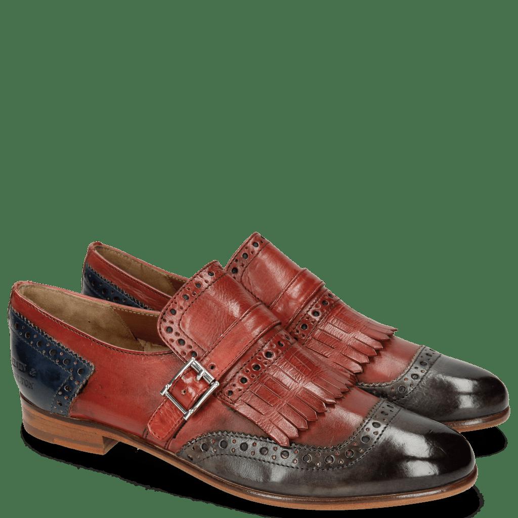 Monk Schuhe Selina 2 Grigio Fiesta Marine Strap