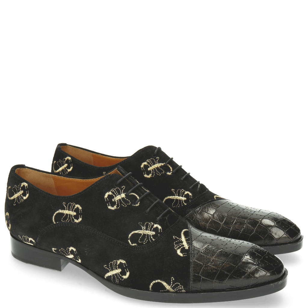 Oxford Schuhe Ricky 9 Crock Suede Black Gold