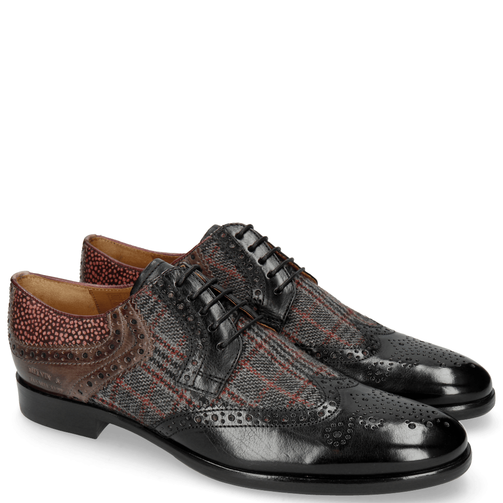Derby Schuhe Clint 19 Black Textile Charcoal Stone Hairon Halftone Wine
