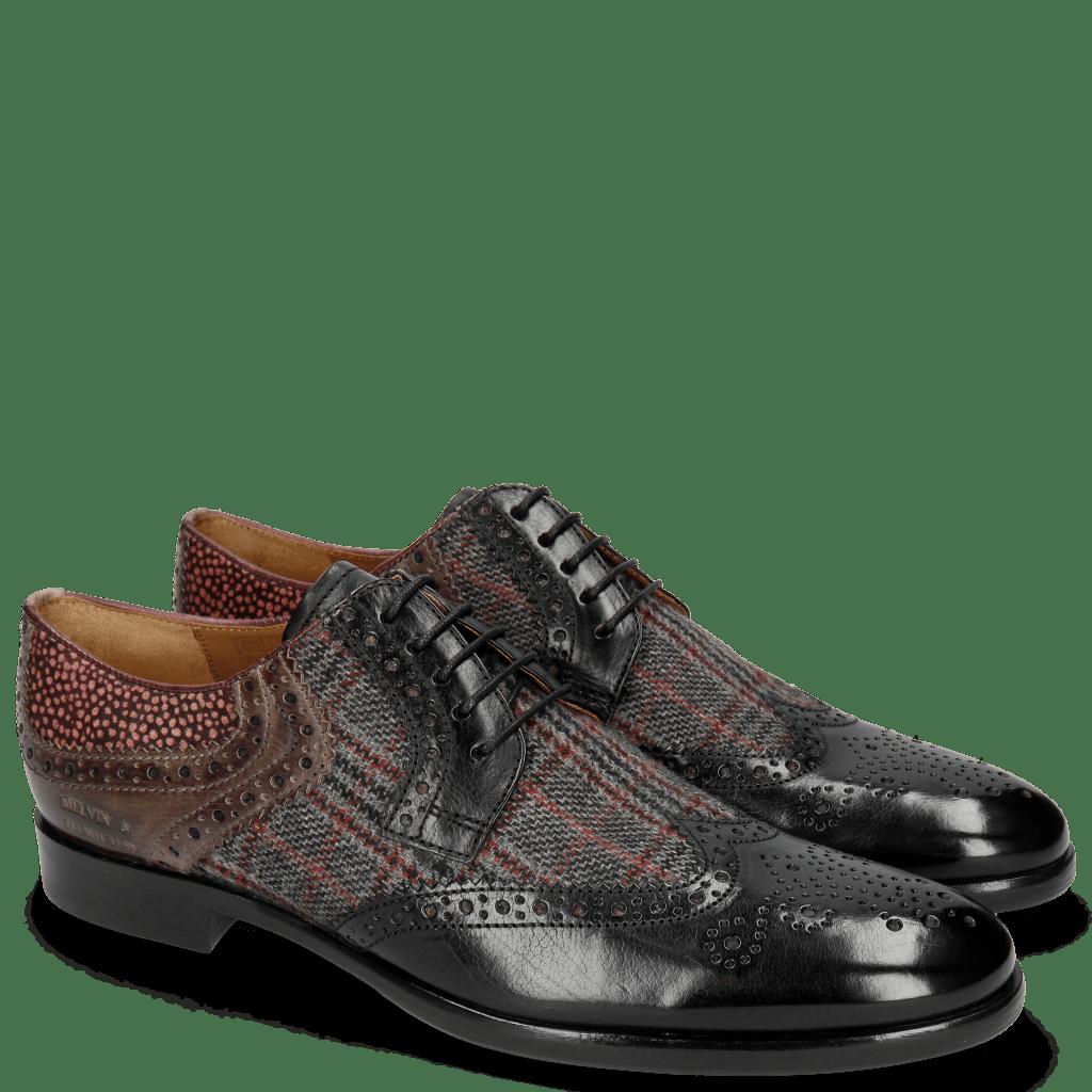 Derby Schuhe Clint 19 Black Textile Charcoal Stone Hairon Halftone Wine