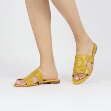 Pantoletten Hanna 74 Woven Yellow Socks Foam