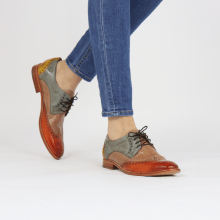 Derby Schuhe Amelie 3 Arancio Perfo Make Up Satellite Ocra