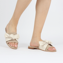 Pantoletten Hanna 65 Nappa Off White Beige Footbed Suede