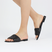 Pantoletten Elodie 37 Nappa Black Footbed