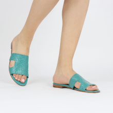 Pantoletten Hanna 74 Woven Turquoise Socks Foam