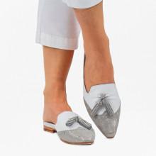 Pantoletten Joolie 6 Java Metalic Silver Kid White LS Natural