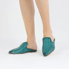 Pantoletten Lydia 2 Woven Scale Turquoise Lining