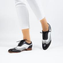 Oxford Schuhe Sally 97 Salerno Black French Grey Nappa Perfo White