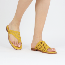 Pantoletten Elodie 16 Mignon Open Woven Yellow