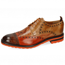 Derby Schuhe Eddy 48 Croco Wood Winter Orange Tan