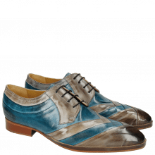 Derby Schuhe Ricky 8 Crust Morning Grey Bluette LS Natural