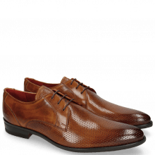 Derby Schuhe Toni 1 Perfo Tan Modica Red