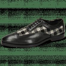 Oxford Schuhe Sara 1 Soft Patent Black Textile Square Black White
