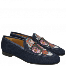 Loafers Scarlett 1 Denim Navy Embroidery Flower Trim Gunmetal