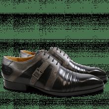 Derby Schuhe Ricky 2 Crust Aztek Black Smoke Buckle Gunmetal HRS