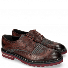 Derby Schuhe Matthew 4 Big Croco Plum Textile Retro