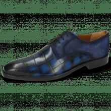 Derby Schuhe Martin 1 Venice Turtle Mid Blue Suede Pattini Indigo